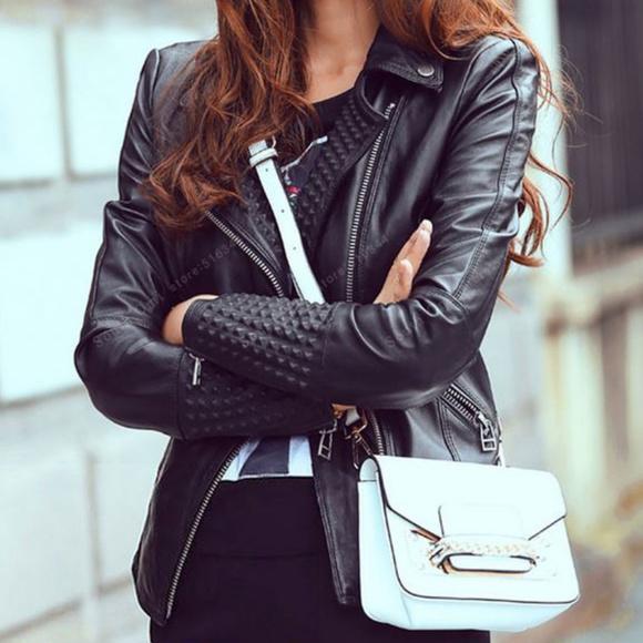 Edgy Side Zip Black Leather Studded Biker Jacket